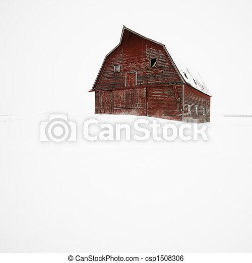 Barn in winter. - csp1508306
