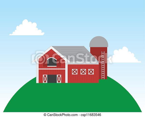 Barn on Hill Scene  - csp11683546