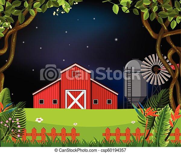 barn scene at night - csp60194357