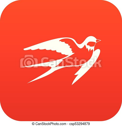 Barn swallow icon digital red - csp53294879