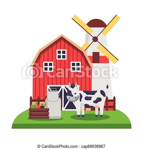 barn windmill house farm - csp66638967