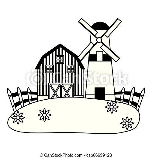 barn windmill house farm - csp66639123