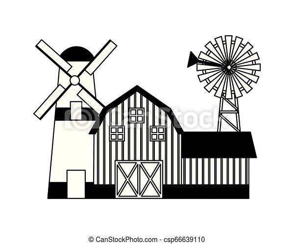 barn windmill house farm - csp66639110