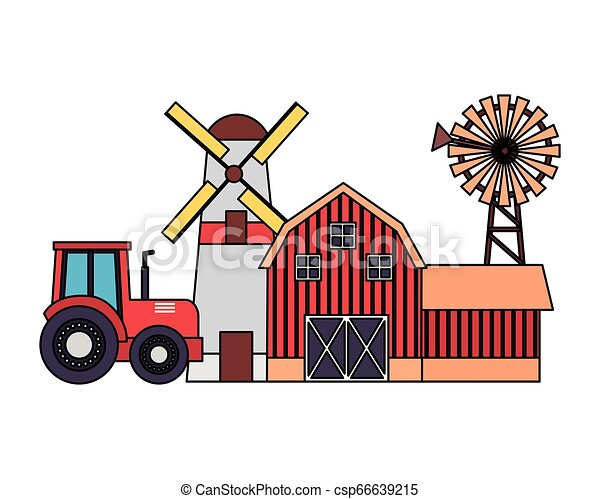 barn windmill house farm - csp66639215