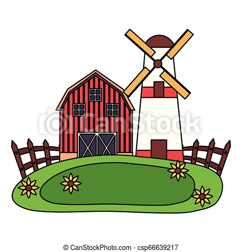 barn windmill house farm - csp66639217