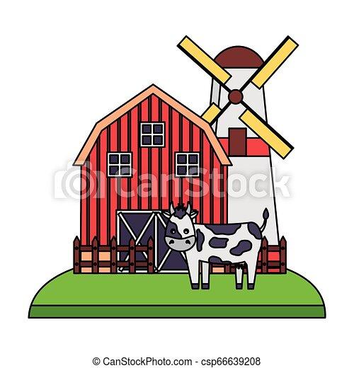 barn windmill house farm - csp66639208