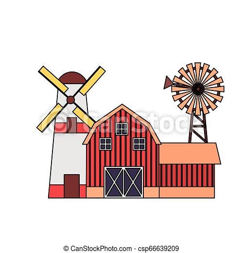 barn windmill house farm - csp66639209