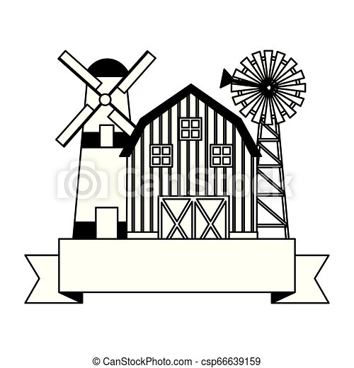 barn windmill storage farm - csp66639159
