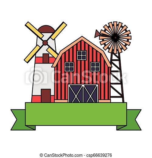 barn windmill storage farm - csp66639276