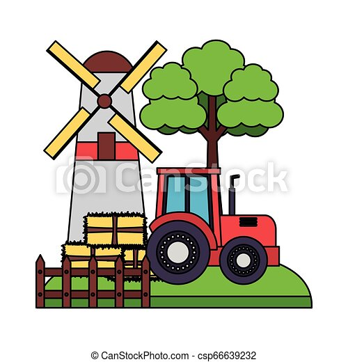 barn windmill tractor bales of hay tree - csp66639232