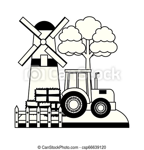 barn windmill tractor bales of hay tree - csp66639120