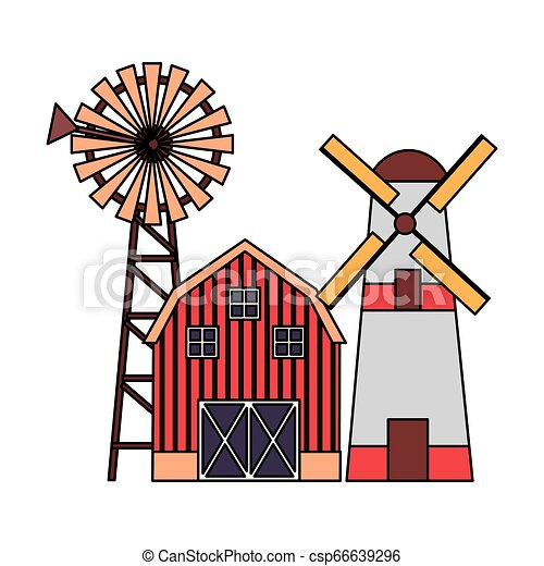 barn windmill tractor - csp66639296