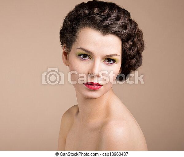 barna, nostalgia., címzett, femininity., románc, retro, hair., leány, pinup, fonott - csp13960437