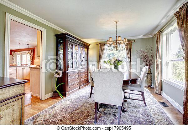 Barna, szoba, étkező, arisztokratikus, olajbogyó,... stock ...