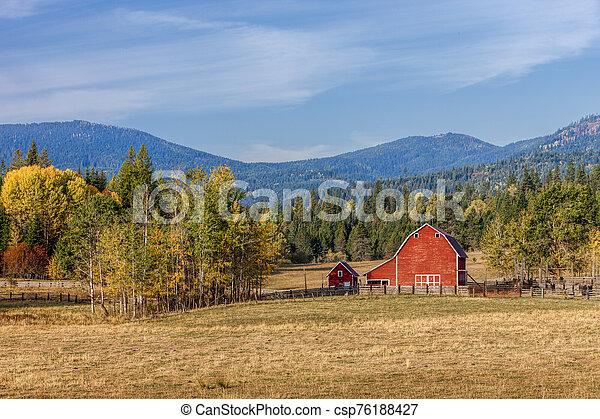 Barnyard scene in autumn. - csp76188427