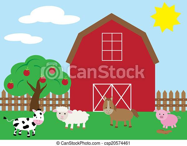 barnyard with animals rh canstockphoto com barnyard animals clipart free barnwood clipart