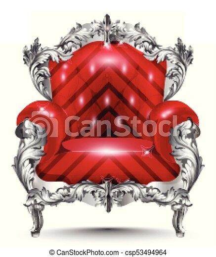 Baroque armchair silver ornament. Vintage furniture rich carved decor. Red upholstery Vector illustrations - csp53494964