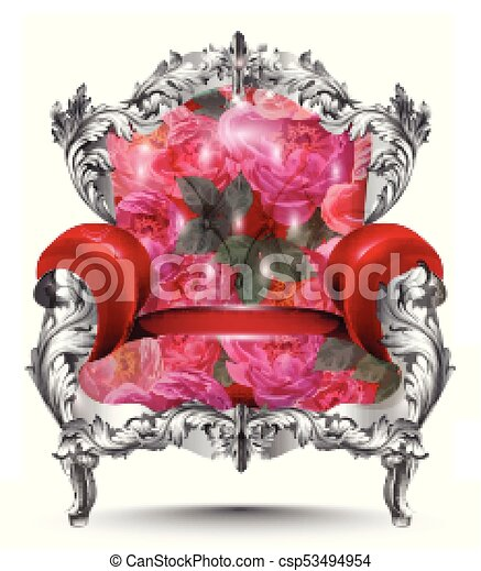 Baroque armchair silver ornament. Vintage furniture rich carved decor. Red roses upholstery Vector illustration - csp53494954