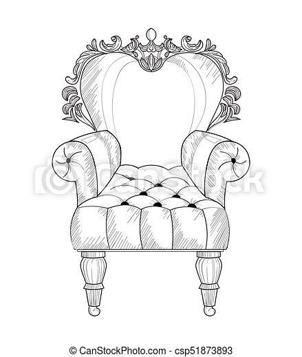 Baroque armchair Vector French Luxury rich intricate structure. Victorian Royal Style decors - csp51873893
