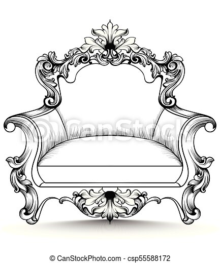 Baroque armchair with luxurious ornaments. Vector French rich intricate structure. Victorian Royal Style decors - csp55588172