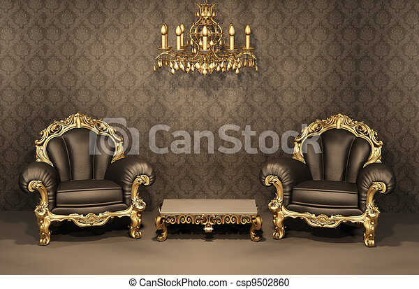 Baroque Armchairs with gold frame in old interior. Luxurious furniture. Deluxe apartment - csp9502860