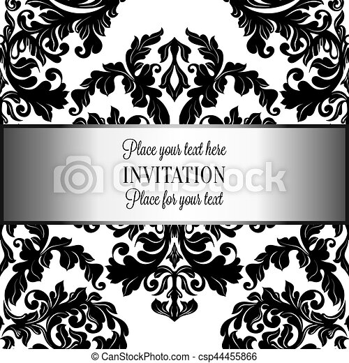 Baroque Background With Antique Luxury Black And White Vintage Frame Victorian Banner Damask