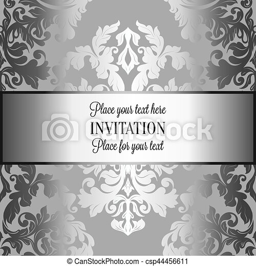 baroque background with antique luxury gray and metal silver vintage frame victorian banner damask floral wallpaper ornaments invitation card