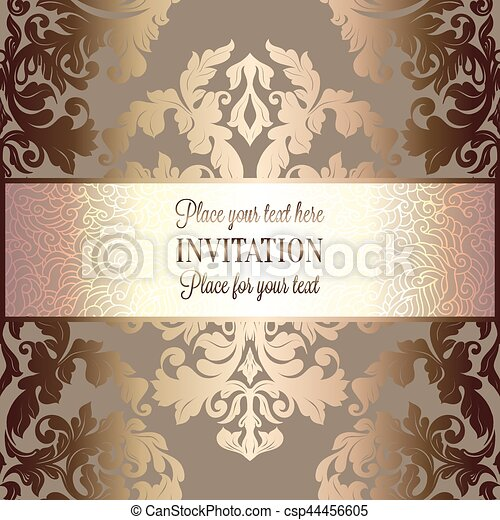 Baroque Background With Antique Luxury Beige Brown And Gold Vintage Frame Victorian Banner Damask Floral Wallpaper Ornaments Invitation Card