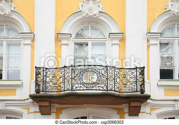Baroque balcony on facade of house - csp3066303