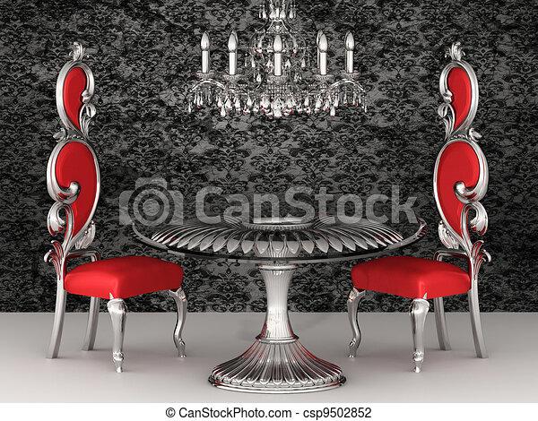 Baroque Chairs. Royal Interior. Wallpaper.   Csp9502852