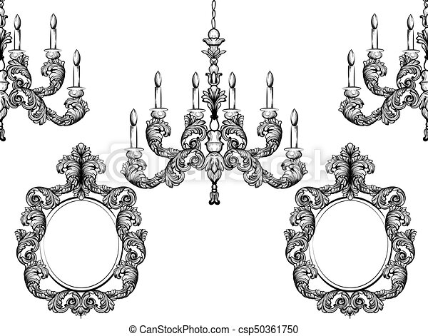 Baroque chandelier and mirror frames detailed rich ornament vector baroque chandelier and mirror frames detailed rich ornament vector illustration graphic line art aloadofball Image collections