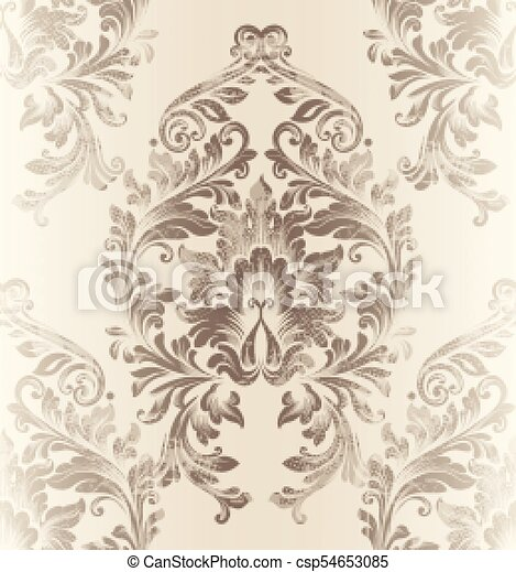 Baroque Damask Pattern Vector Royal Fabric Background Luxury New Damask Pattern