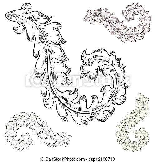 Baroque design elements  - csp12100710
