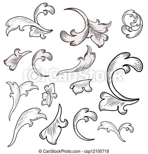 Baroque design elements  - csp12100718