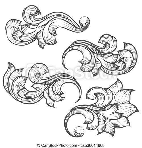 Baroque engraving leaf scroll - csp36014868