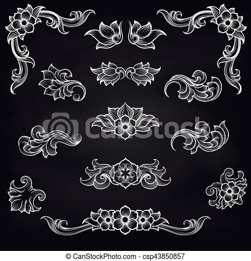 Baroque engraving leaf scroll design - csp43850857