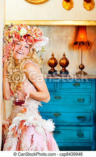 baroque fashion blond woman drinking red wine - csp8439948