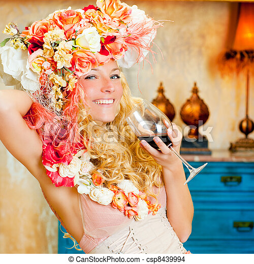 baroque fashion blond woman drinking red wine - csp8439994