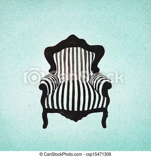 baroque, fond, fauteuil - csp15471306