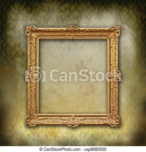 baroque frame on grunge texture - csp8680550