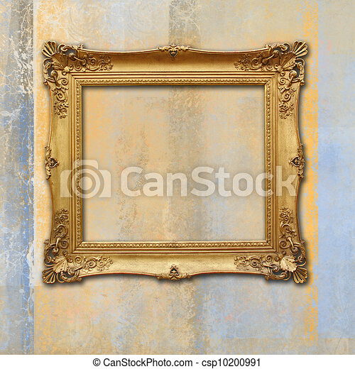 baroque golden frame on a grunge faded texture - csp10200991