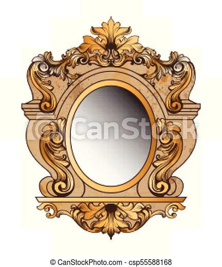 baroque golden mirror frame vector round decor design elements rich encarved ornaments