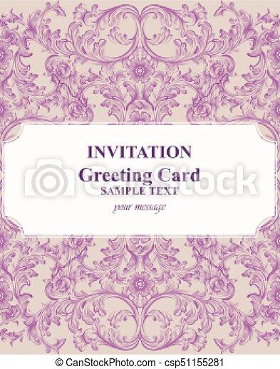 Baroque invitation card rich vector royal victorian ornament cards baroque invitation card rich vector royal victorian ornament cards stopboris Gallery