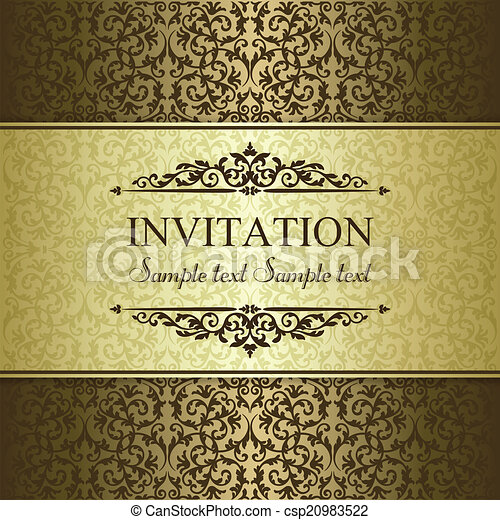 Baroque invitation, gold and brown - csp20983522