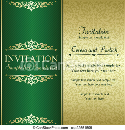 Baroque invitation, gold and green - csp22551509