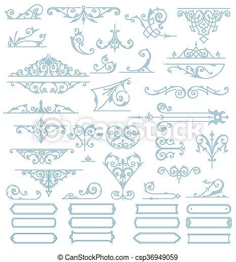 Baroque Ornaments Design Set. Vector - csp36949059