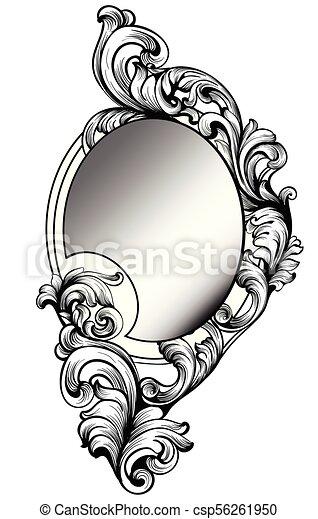 baroque round mirror frame vector imperial decor design elements rich encarved ornaments line arts