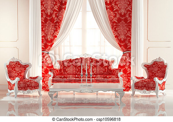 Baroque Sofa and Armchairs in old royal interior design. Luxurious furniture. - csp10596818