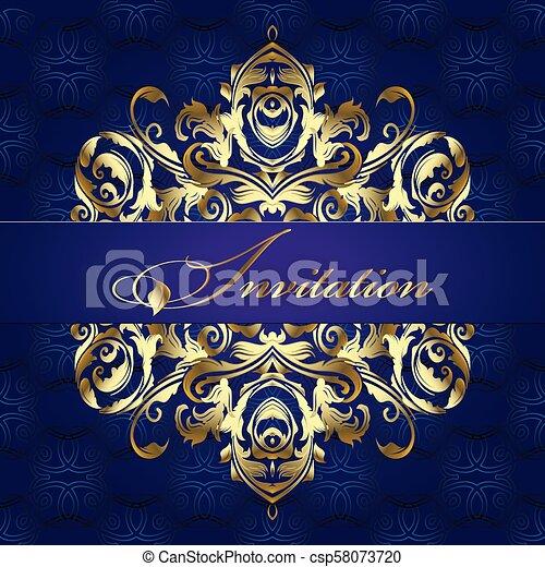 Baroque Style Pattern Vintage Invitation Design