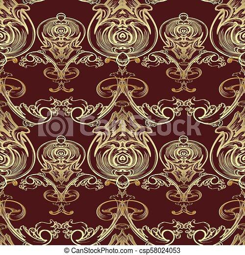 Baroque Vector Seamless Pattern Damask Dark Red Floral Backgrou